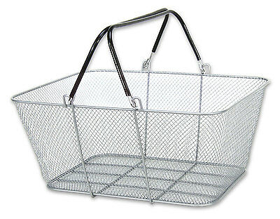 Wire Handle Shopping Store Mesh Rubber Coated 12 Basket Set Silver NEW