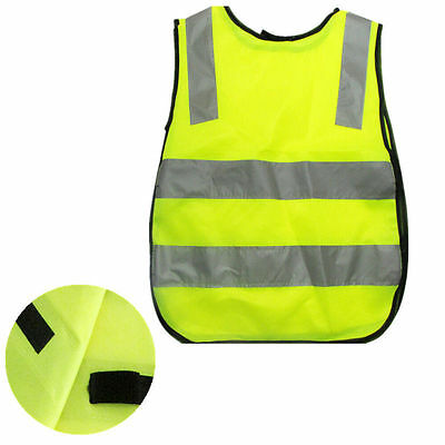 High Childrens WO Vest Hi Vis Yellow Visibility AU Waistcoat Kids Childs Jackets