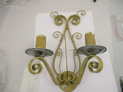 Vintage Wrought Iron Wall Light Sconce Gothic Medieval Design Spiral Forged Old
