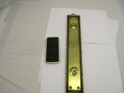 Victorian Brass Finger Plate Push Door Handle Architectural Antique Ribbon Old