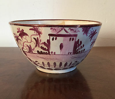 Antique 19th century English Staffordshire Pearlware Pink Luster Bowl Lustre