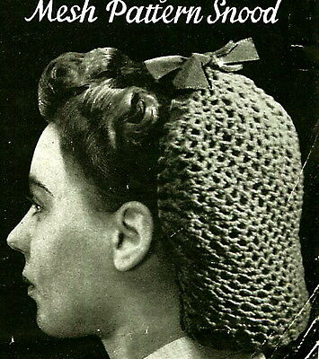 Vintage Crochet Pattern How To Make A Wartime 1940s Hair Snood