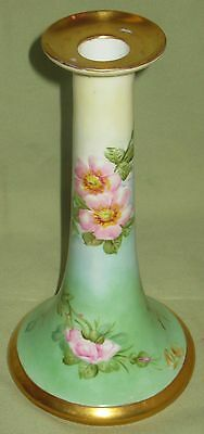 Antique Hp Bavarian Candlestick Signed S.knight 12/1912