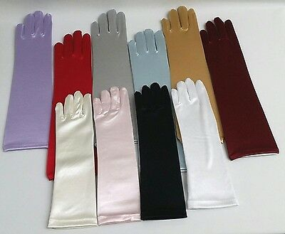 NEW Girls Wedding Pageant Communion Baptism Satin LONG Elbow Party Finger Gloves