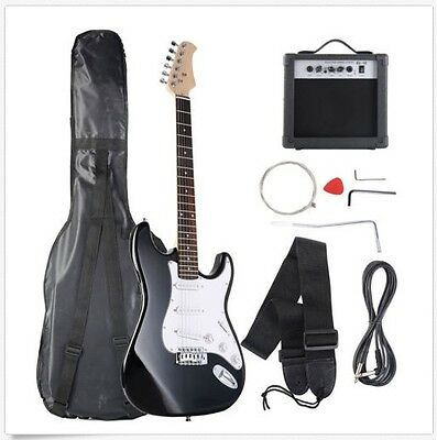 New Quality Black Full Size 6 String Electric Guitar 10w AMP Strap Case Bag Cord