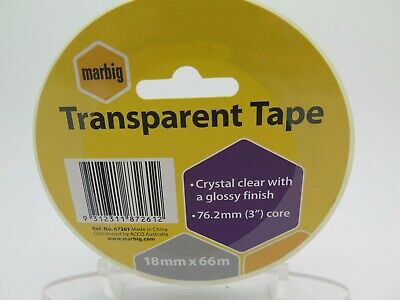 4 x Marbig Transparent Office Sticky Tape - 18mm x 66M - 87261