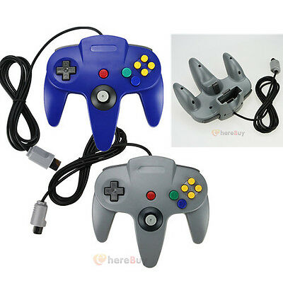 2PCS NEW Long Controller Game System for Nintendo 64 N64 Grey Blue US Ship