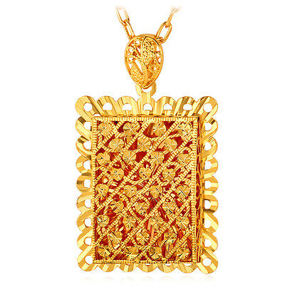 U7 Exquisite Hollow Square Big Pendant Necklace 18K Gold Plated Fashion Jewelry