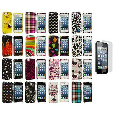 Design Color Hard Snap-On Rubberized Case Cover+Screen Protector for iPhone 5 5S
