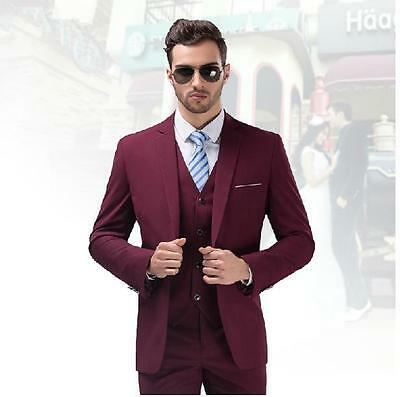 Burgundy 3 Pc Mens Wedding Suits Best Men Suits Groom Tuxedos Formal