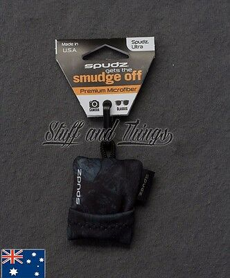 Spudz Ultra - Regular Size - Microfibre Lens Cleaning Cloth w Pouch - Blk/Grey