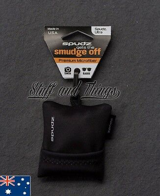 Spudz Ultra - Large Size - Microfibre Lens Cleaning Cloth with Pouch - Black