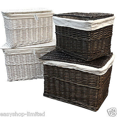 Large Medium White/Brown Wicker Storage Basket Chest Trunk Box Linning Lid New