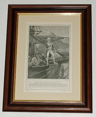 Print circa 100 year old Captain James Cook discoveries south seas