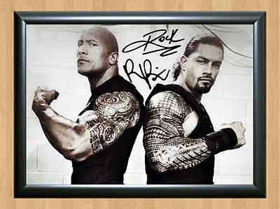 The Rock & Roman Reigns WWE Signed Autographed A4 Print Photo Poster WWF UFC WCW