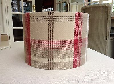 Handmade Lampshade Porter & Stone, Balmoral Tartan Cranberry Red Cream Beige