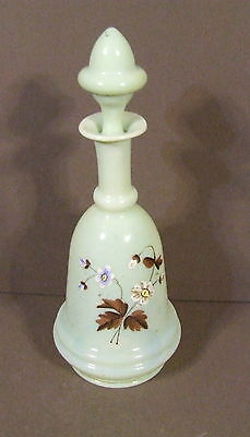 Antique Opaline Custard/green Glass Decanter W/ Stopper Floral Hand Painted