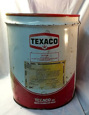 Vintage Texaco SAE 15W40 Empty 5 Gallon Oil Can USA White Plains NY 13 3/4""