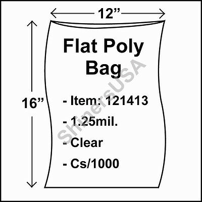 1000 1.25-Mil 12x16 Clear Poly Bag Open Top Lay Flat Packaging 121413