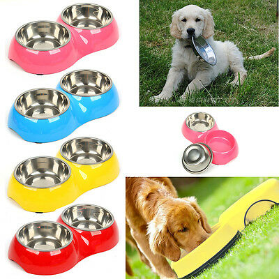 Double Stainless Steel Dog Cat Puppy Pet Bowl Non Slip Food Water Feeding Dish