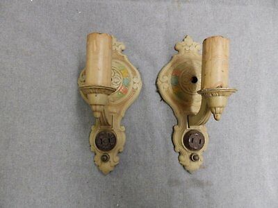 Pair Antique Sconce Wall Light Old Vtg Shabby Victorian Floral Polychrome 07-16