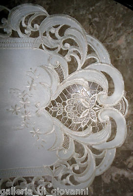 "VINTAGE ROMANCE  Valentine  Lace Doily Table Runner  33""  Heart  Rose Cut work"