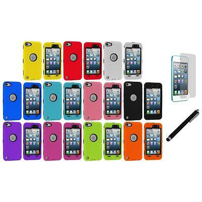 Deluxe Hybrid 3-Piece Case+Protector+LCD Film+Stylus for iPod Touch 5th Gen 5G