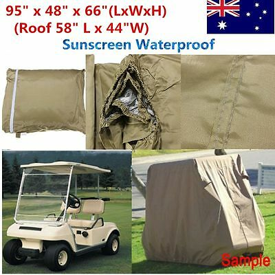 95'' 2 Passenger Taupe Golf Cart Car Waterproof Cover For EZ GO Club Yamaha
