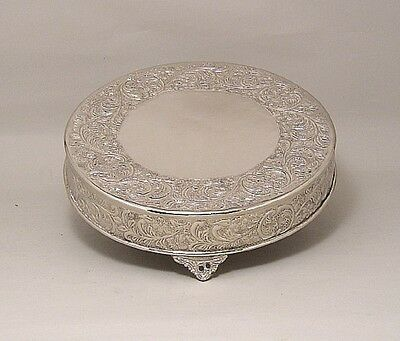 """Nickel Finish Embossed Cake Stand Plateau 18"""" Round (New)"""