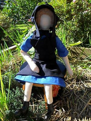 Amish Girl Doll Handmade in Calico Cotton & Natural Materials