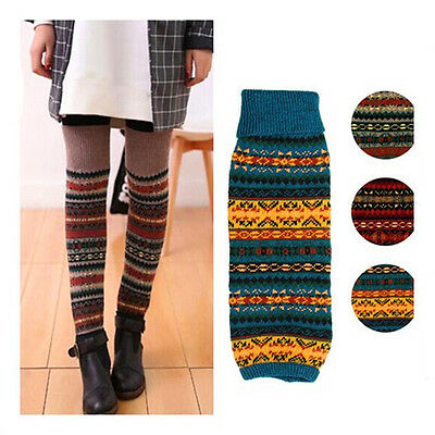Women's Crochet Knit Winter Wool Leg Warmers Socks Stocking Legging