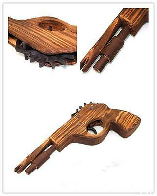 HOAU Classical Rubber Band Launcher Wooden  Hand Pistol Gun Shooting Toy Gifts