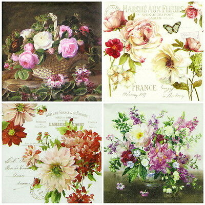 4x Single Table Party Paper Napkins for Decoupage Decopatch Craft Flowers Mix