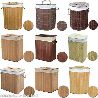 X Large Foldable Bamboo Laundry Bin Basket Hamper Linen Cloth Washing Box Lid