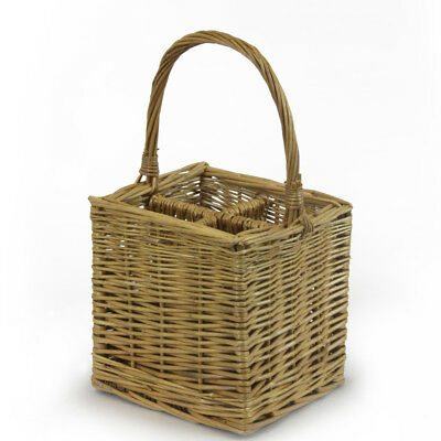 JVL Willow Wicker 4 Four Bottle Wine Basket Hamper Carrier & Handle 25x25x44cm