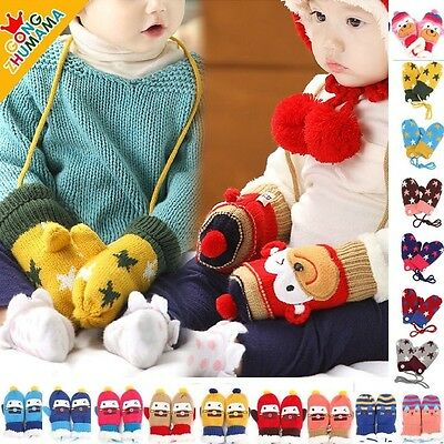 Sales Cute Monkey Winter Warmer Toddlers Girls Boys Baby Knited Gloves Mittens