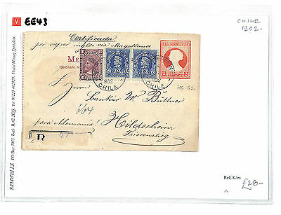 EE43 1902 CHILE TRANSATLANTIC Uprated 2c Stationery Germany: Samwells-covers