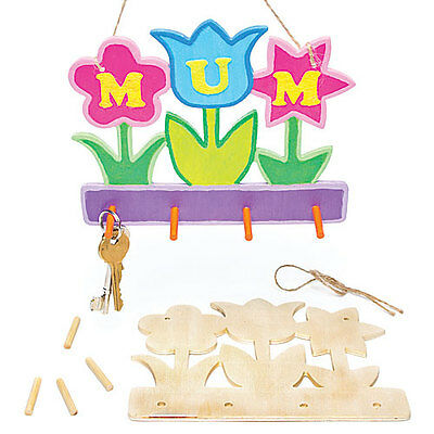 Flower Wooden Hanging Key Holder for Children to Make Paint Decorate (Pack of 3)
