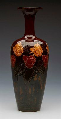 ROYAL DOULTON IVORY BODIED FLORAL DESIGN VASE BY CHARLES COLLIS c.1902