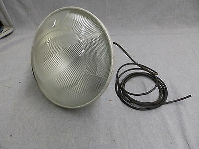 Vintage Industrial Eames Era Holophane Light Fixture Old Factory Steampunk 10-16
