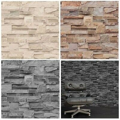 Muriva Slate Stone Wallpaper – Natural, Charcoal & Beige - Luxury Feature Wall