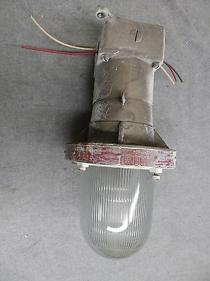 Vtg Industrial Sealed Hazardous Area Light Fixture Old Factory Steampuk 11-16