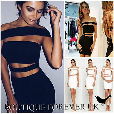Uk Womens Bodycon Bandage Dress Ladies Off Shoulder Party Dress Size 6 - 14