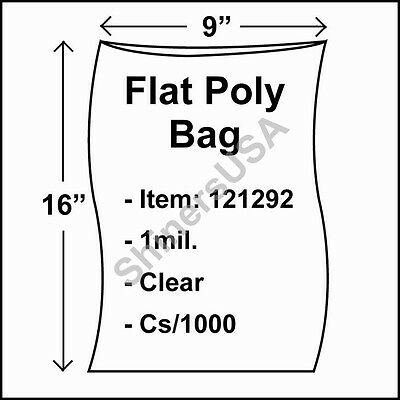 1000 1-Mil 9x16 Clear Poly Bag Open Top Lay Flat Packaging 121292