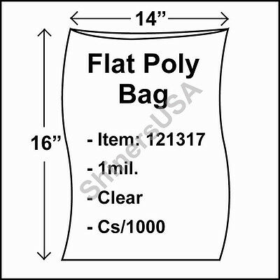1000 1-Mil 14x16 Clear Poly Bag Open Top Lay Flat Packaging 121317