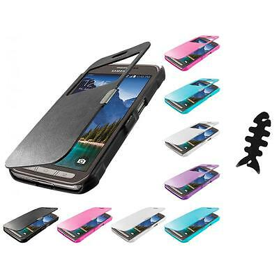 For Samsung Galaxy S5 Active Magnetic Wallet Hard Case Flip Cover Cable Wrap