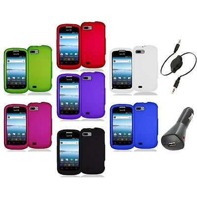 Color Hard Snap-On Rubberized Case Cover Accessory+Aux+Charger for ZTE Fury N850