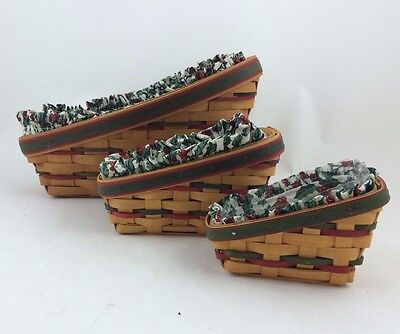 Longaberger Set of 3 Christmas Sleigh Baskets Combo Traditional Holly