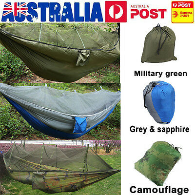 Portable High Strength Hammocks Jungle Camping Hammock Mosquito Net Military AU