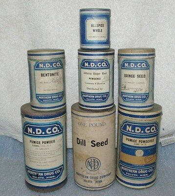 lot of Antique Duluth Drug Co Duluth Containers with contents